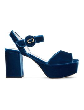 Blue Velvet Platform Sandals by Prada