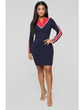 Getting All The Angles Sweater Dress   Navy/Red by Fashion Nova