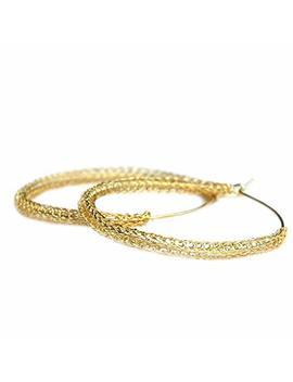 Wire Crochet Large Hoop Earrings Gold Hoops by Amazon
