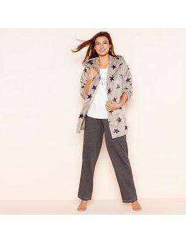 Lounge & Sleep   3 Piece Grey Star Print Cardigown Loungewear Set by Lounge & Sleep