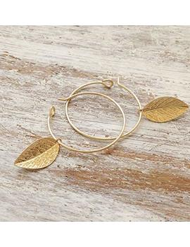 Gold Filled Hoop Leaf Earrings by Amazon