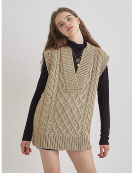 Vest Knit Dress Beige by Soft Seoul