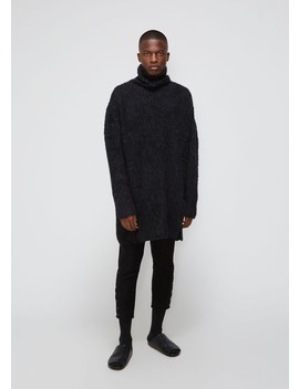 Parallel Yarn Fleece Slit Open Turtleneck by Yohji Yamamoto