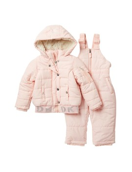 Faux Fur Jacket & Bib Snowsuit 2 Piece Set (Baby Girls) by Dkny