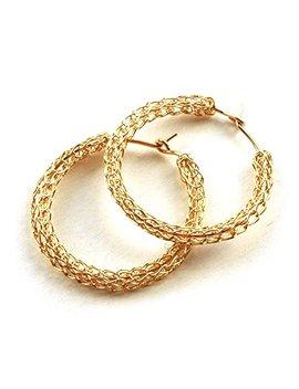 Hoop Earrings For Women   Medium Gold Hoop Earring   Gold Filled Earrings by Amazon