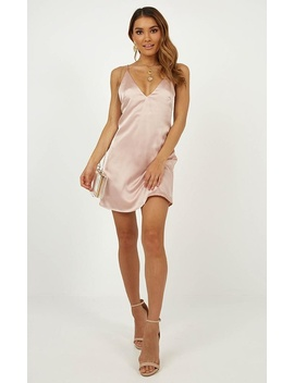 Mean So Much Dress In Blush Satin by Showpo Fashion