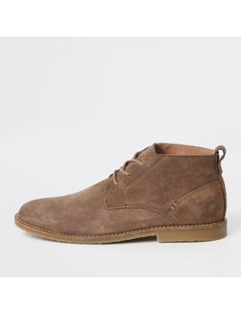 Stone Suede Eyelet Chukka Boots by River Island
