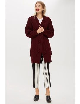 Cable Longline Cardigan by Topshop