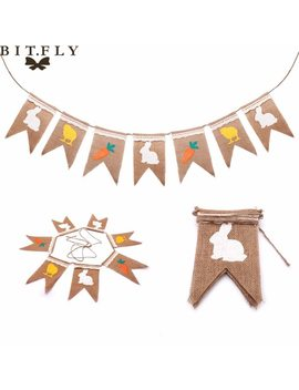 7pcs/Set Rabbit & Carrot Banner Natural Linen With Lace Diy Flag Easter Decoration For Home Easter Background Party Supplies by Bit.Fly