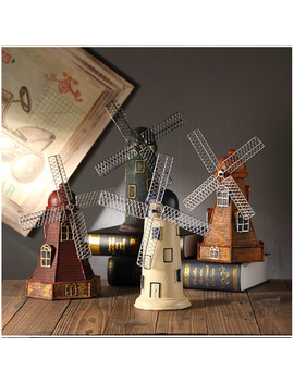 4 Colors Vintage Resin Windmill Ornaments Piggy Bank Dutch Windmill Home Decor Ornaments Europe Models Gifts Furnishing Articles by Iampretty