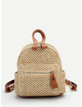 Pocket Front Straw Backpack by Sheinside