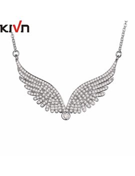 Kivn Fashion Jewelry Pave Cz Cubic Zirconia Angel Wing Feather Womens Bridal Wedding Pendant Necklaces  Birthday Christmas Gifts by Kivn