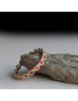Padparadscha Sapphire Alternating Eternity Gold Ring by Etsy