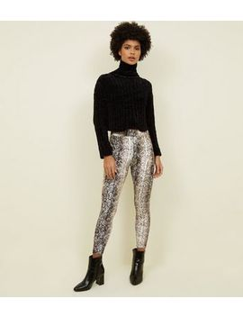 Brown Snake Print Velvet Leggings by New Look