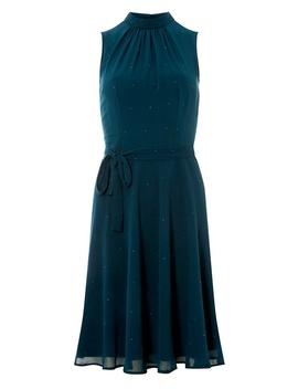 Teal Blue Glitter High Neck Midi Skater Dress by Dorothy Perkins