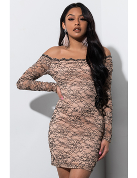 Private Show Off Shoulder Lace Mini Dress by Akira