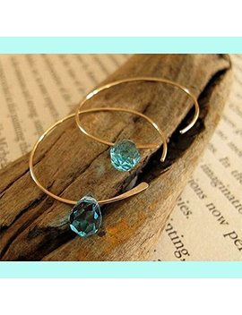 Swarovski Crystal Hoop Earrings   Aqua Blue Crystal Gold Hoops   14k Gold Filled Jewelry   Open Hoops   Tear Drop Earrings by Amazon