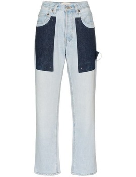 High Waist Patch Straight Jeans by Beau Souci
