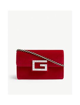 Broadway Crystal Logo Velvet Cross Body Bag by Gucci