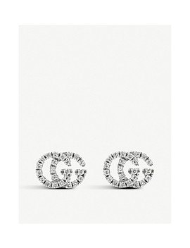 Gg Running 18ct White Gold And Diamond Stud Earrings by Gucci