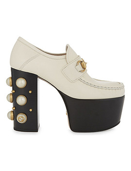 Vegas 125 Pearl Leather High Heeled Loafers by Gucci