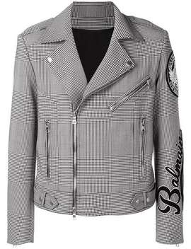 Houndstooth Check Biker Jacket by Balmain