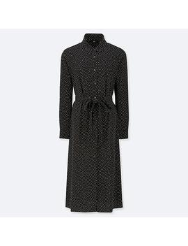 Women Rayon Dotted Print Long Sleeved Dress by Uniqlo