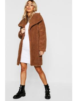 Petite Shawl Collar Teddy Coat by Boohoo