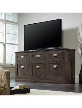 "Sauder New Grange Coffee Oak Entertainment Credenza For Tv's Up To 65"" by Sauder"