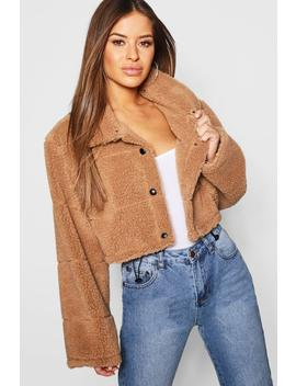 Petite Crop Fleece Puffer Jacket by Boohoo