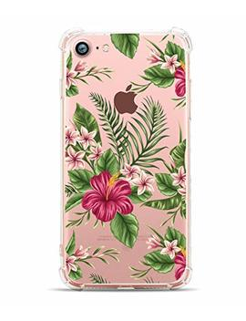 I Phone 8 Case I Phone 7 Case, Hepix Tropical Palm Floral Print Soft Clear Tpu Protective Bumper Cover Case [4.7 Inch] by Hepix
