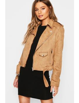 Suedette Belted Biker Jacket by Boohoo