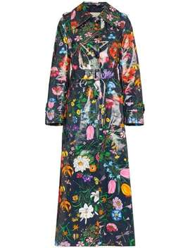 Floral Vinyl Trench Coat by Gucci
