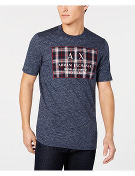  X Armani Exchange Men's Tartan Logo Patch T Shirt by A X Armani Exchange