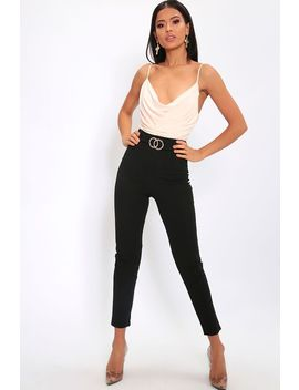 Black Double Circle Belt Trousers by I Saw It First