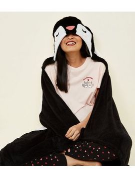 Black Fluffy Penguin Slanket by New Look