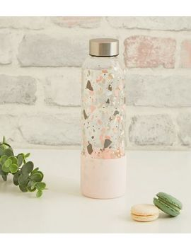 Pink Flecked Print Small Glass Water Bottle by New Look