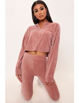 Rose Pink Velour Zip Through Sweat by I Saw It First