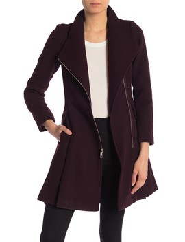 Textured Wool Blend Skirted Walker Coat by Guess