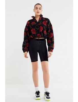 Uo Rose Teddy Half Zip Pullover Sweatshirt by Urban Outfitters