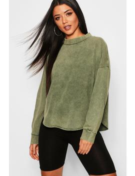 Washed Curve Hem Drop Arm Sweat by Boohoo