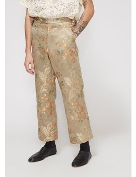 Cream Tapestry Side Tie Trouser by Bode