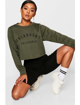 Calabasas Crew Neck Crop Sweat by Boohoo