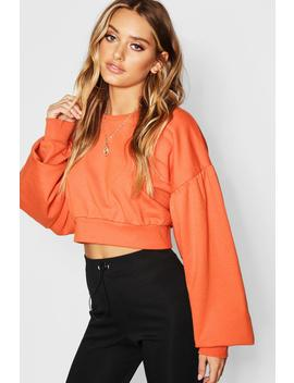 Balloon Sleeve Crop Sweat by Boohoo