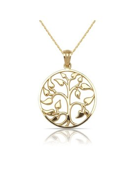"10 K Yellow Gold Medium Polished Tree Of Life Circle Pendant Necklace (16"") (15mm X 20mm) by Curata"
