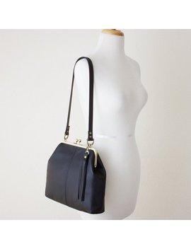 Leather Kiss Lock Frame Purse | Kiss Lock Crossbody Handbag | Retro Style Kiss Lock Purse by Etsy