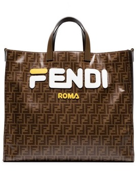 Fendi Mania Brown And White Large Logo Print Tote Bag by Fendi