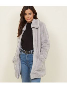 Pale Grey Patch Pocket Faux Fur Jacket by New Look
