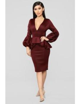 Always Bubbly Sleeve Dress   Burgundy by Fashion Nova