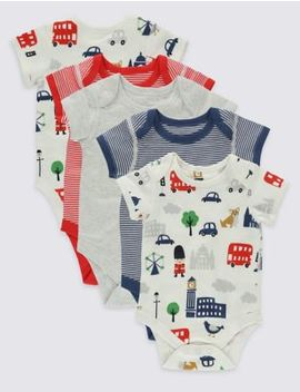 5 Pack London Print Cotton Bodysuits by Marks & Spencer